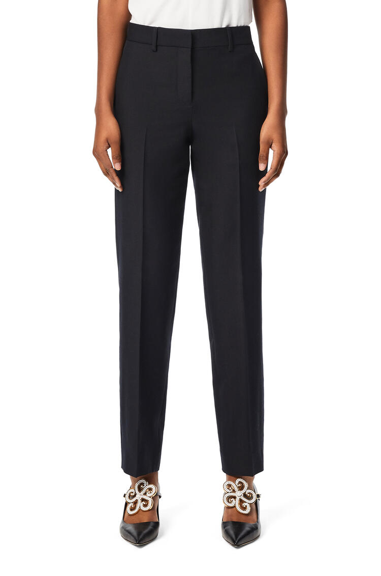 LOEWE Tapered trousers in wool and silk Navy Blue pdp_rd