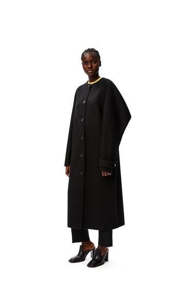 LOEWE Raglan sleeve coat in wool and cashmere Black pdp_rd