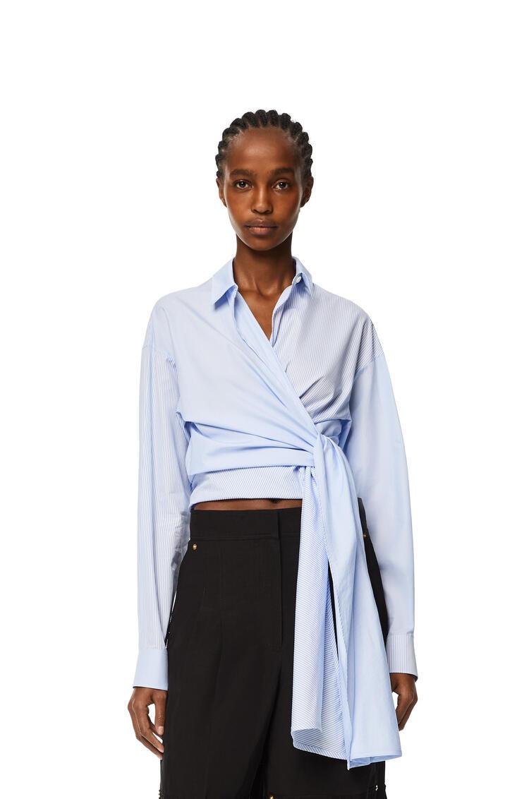 LOEWE Stripe wrap top in cotton White/Blue pdp_rd