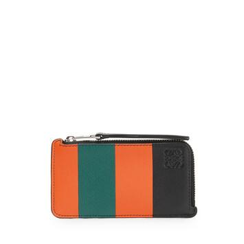 LOEWE Tarjetero C/ Monedero Stripes Naranja/Verde front