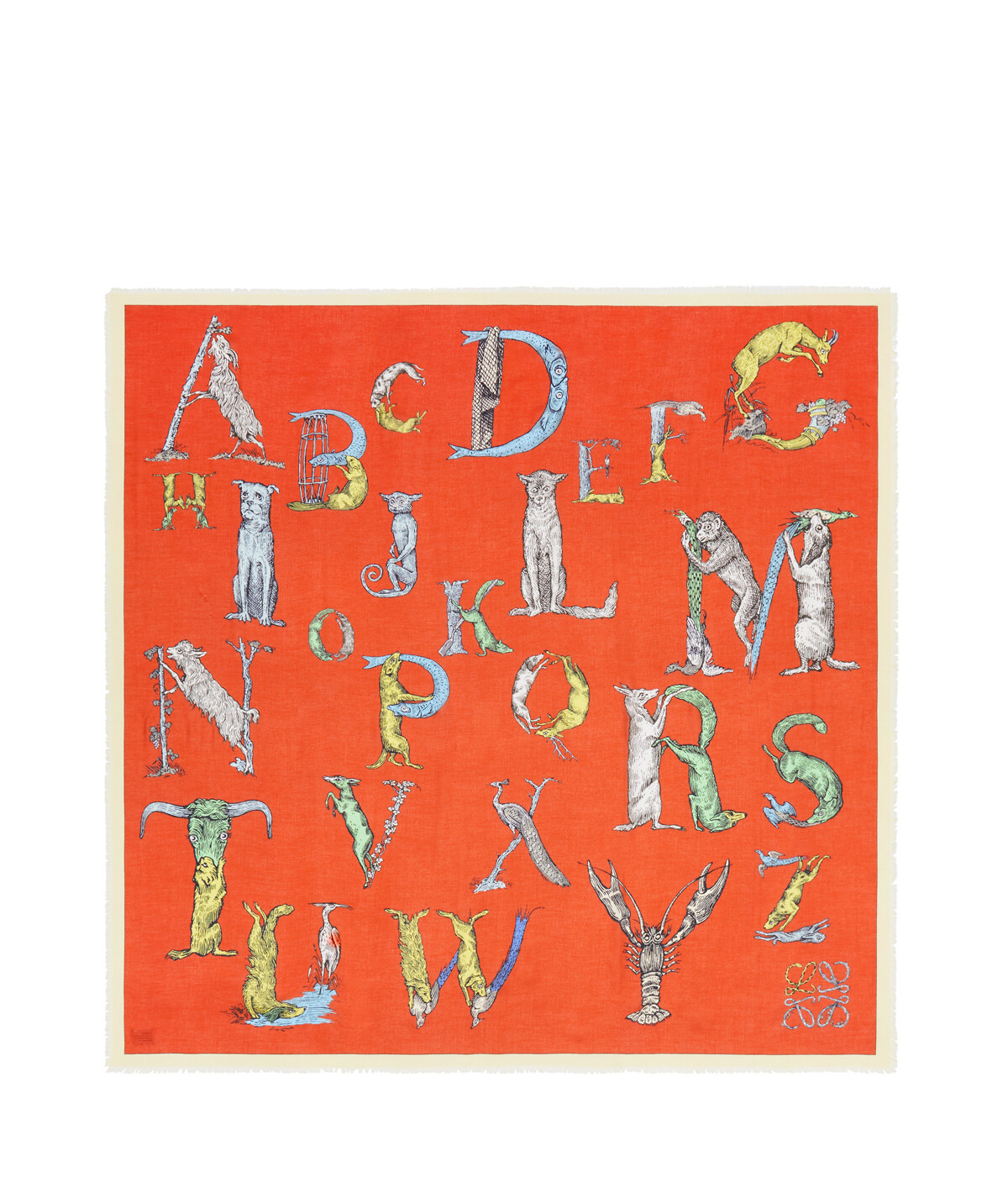 LOEWE 140X140 Scarf Alphabet orange/multicolour front