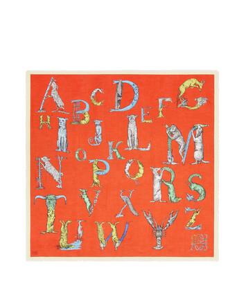 LOEWE 140X140 Scarf Alphabet Orange/Multicolor front