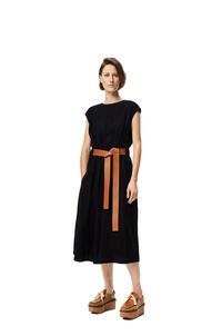 LOEWE Belted midi dress in wool Black/White pdp_rd