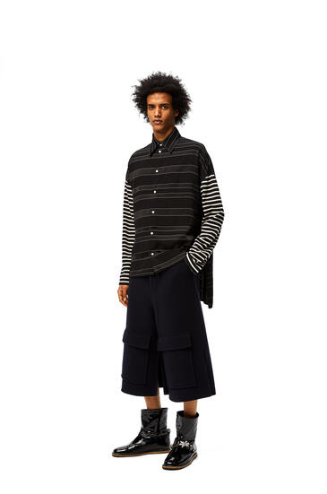 LOEWE Long sleeve shirt in striped cotton White/Black pdp_rd