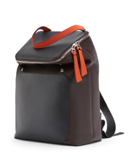 LOEWE Goya Backpack Chocolate Brown/Orange front