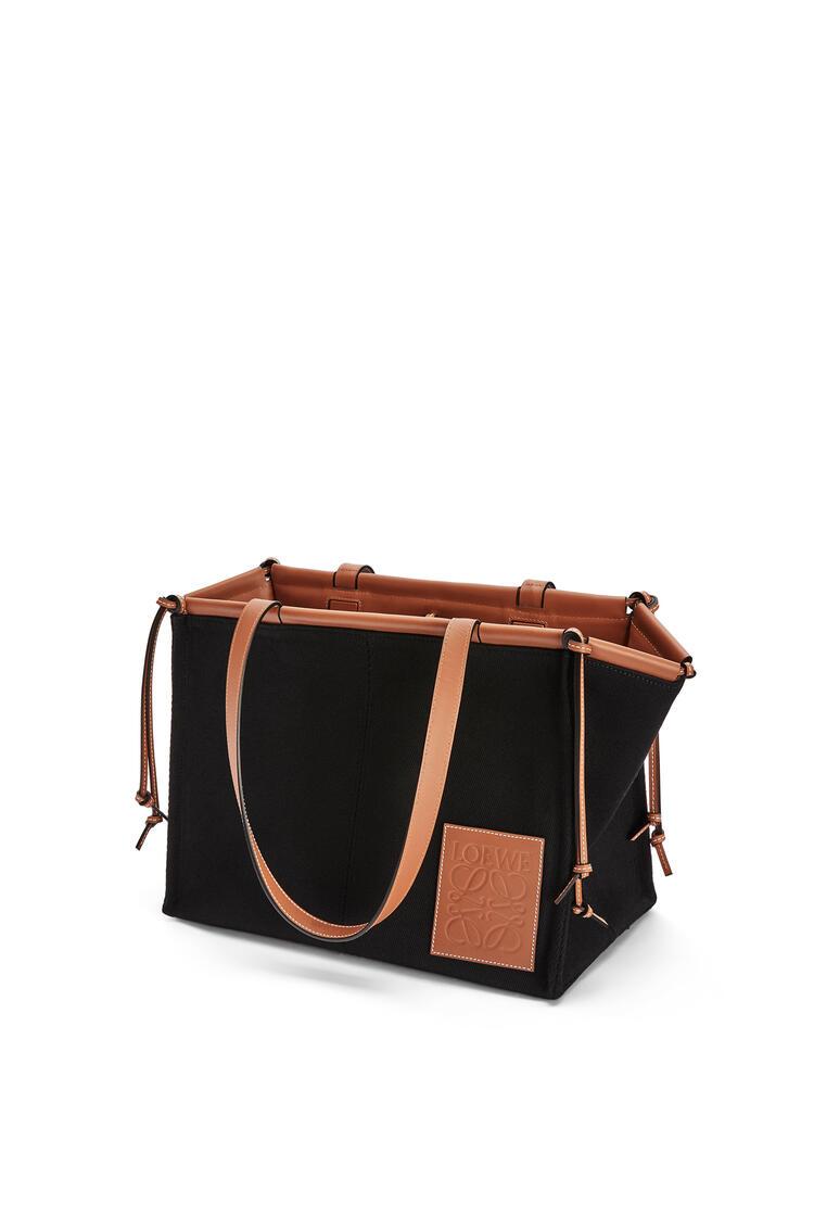 LOEWE Cushion tote bag in canvas and calfskin Black/Tan pdp_rd
