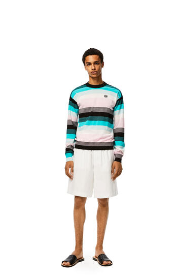 LOEWE Anagram embroidered sweater in stripe hemp 藍色/粉紅色/白色 pdp_rd