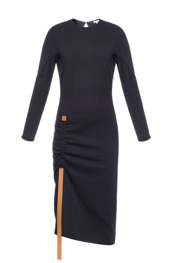 LOEWE Bodycon Dress Leather Strap Black front