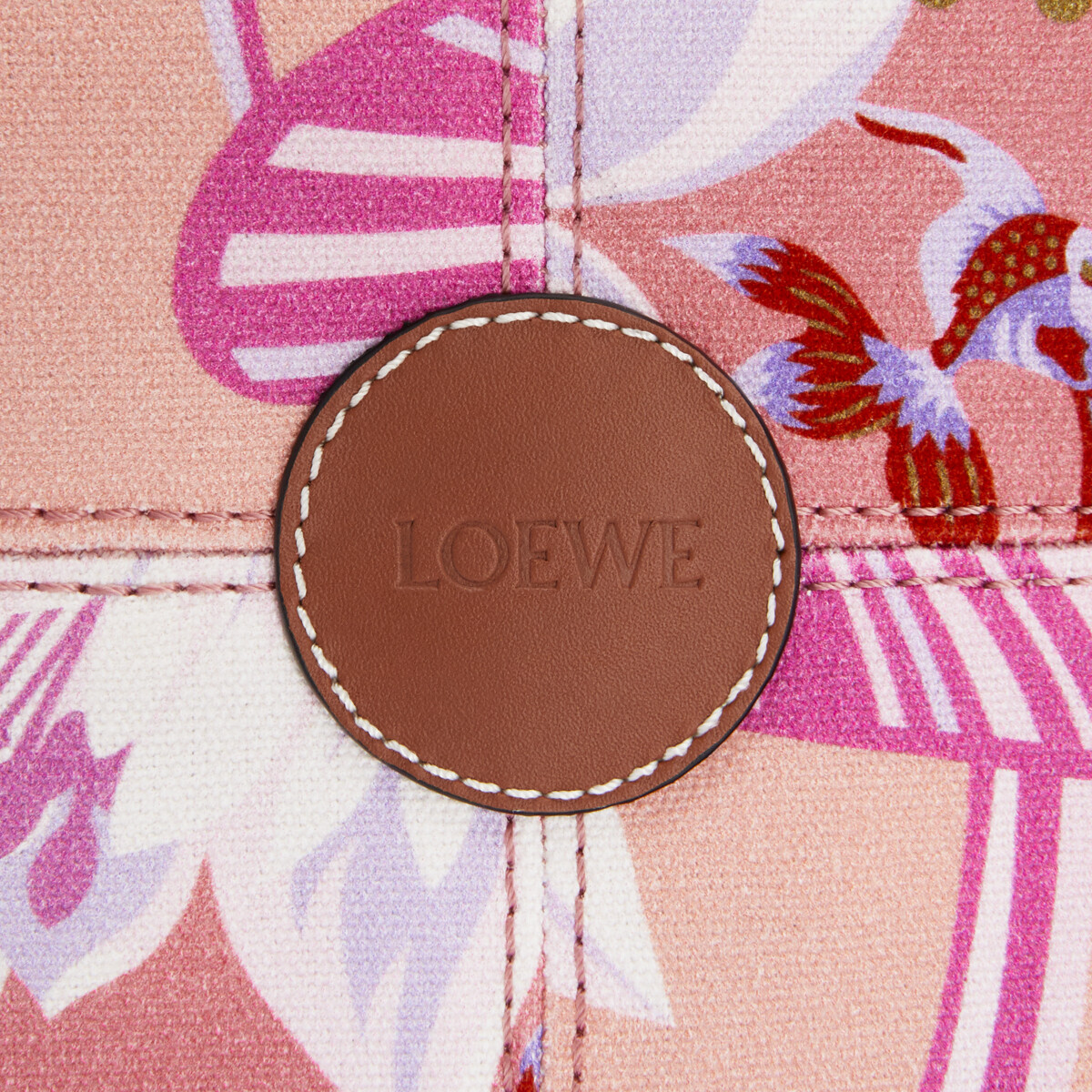 LOEWE Cushion Tote Small Bag In Waterlily Canvas And Calfskin Salmon/Pink front