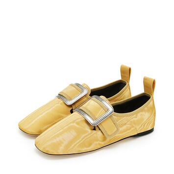 LOEWE Buckle Slipper Moire 芥末 front
