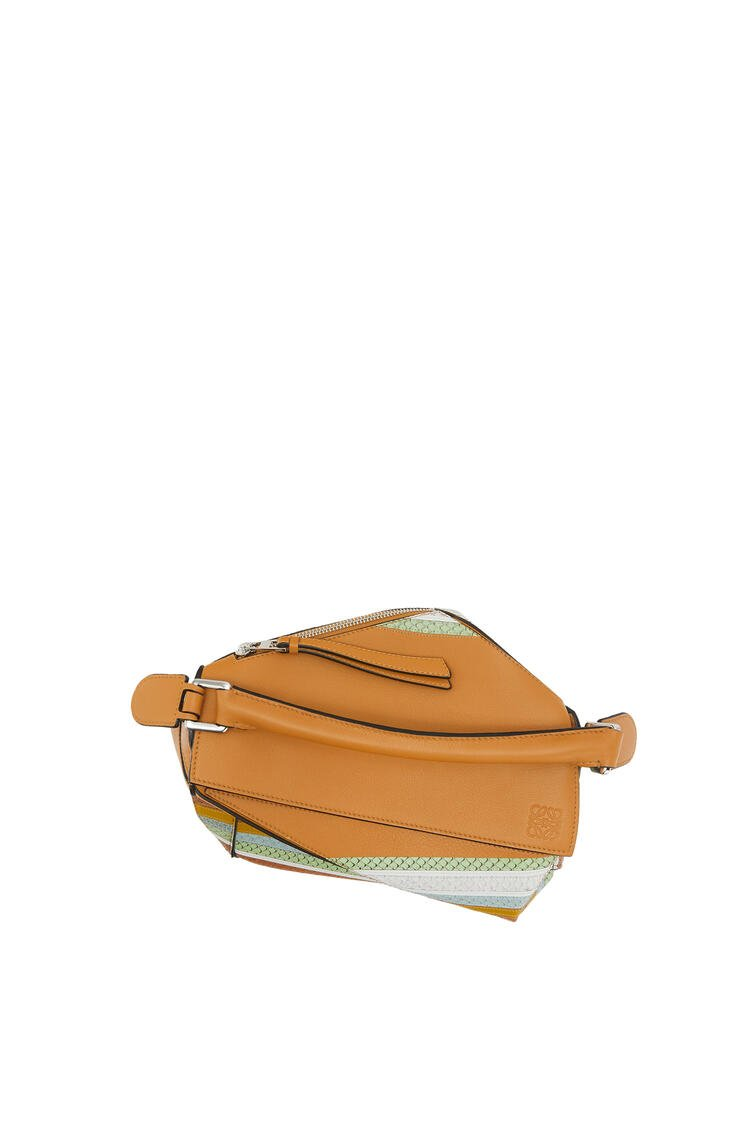LOEWE Small Puzzle Bag In Calfskin And Snakeskin Honey/Multicolor pdp_rd