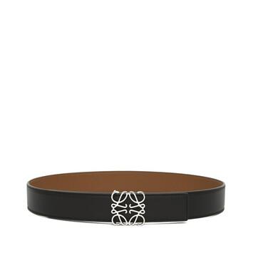 LOEWE Anagram 3.2公分皮帶 黑色/棕色/金屬灰 front