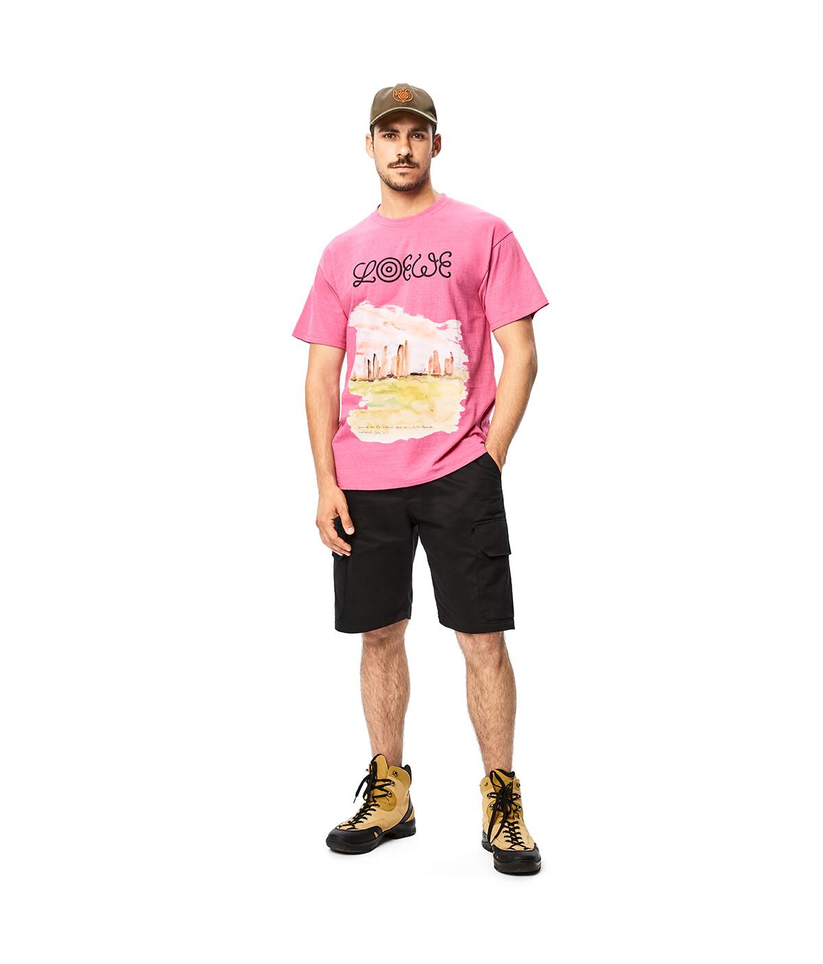 LOEWE Eln Watercolor Print T-Shirt 粉紅 front