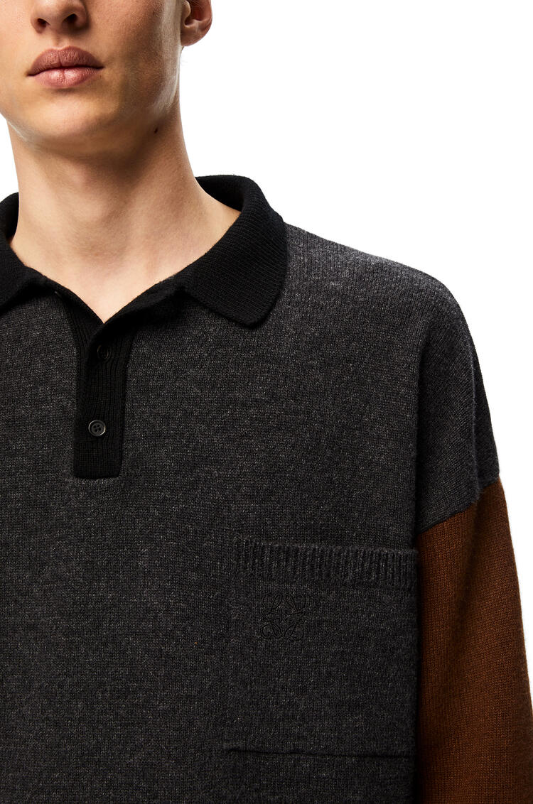 LOEWE Polo collar oversize sweater in wool and cashmere Black/Grey/Brown pdp_rd