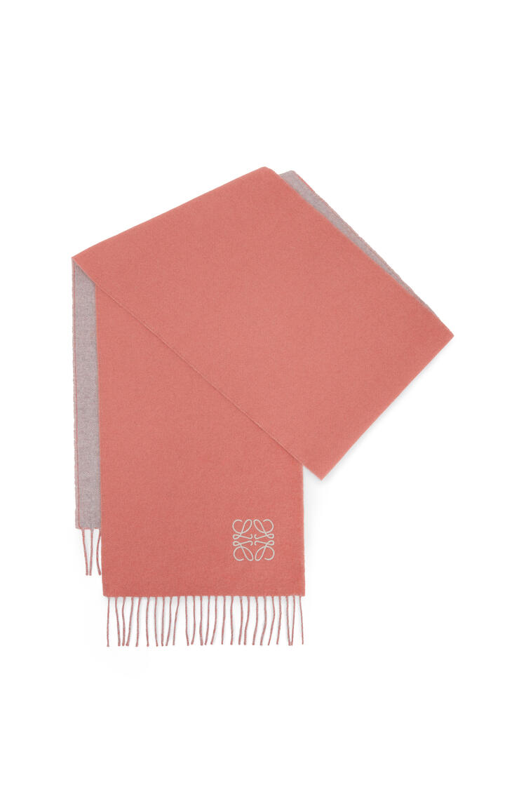 LOEWE Bicolour scarf in wool and cashmere Rose/Pearl Grey pdp_rd