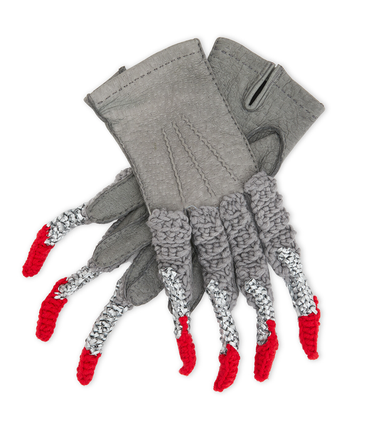 LOEWE Claw Knit Gloves Grey/Red front