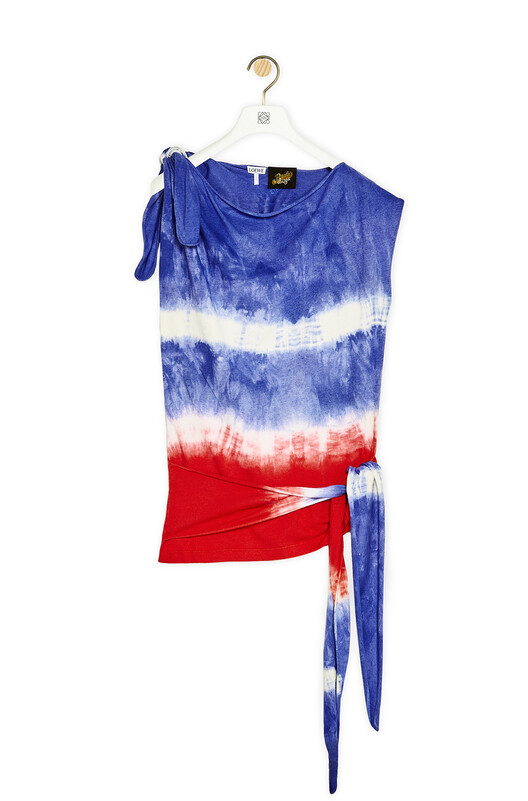 LOEWE Asymmetric Knot Top In Tie Dye Silk And Cotton Red/Blue/Black  front
