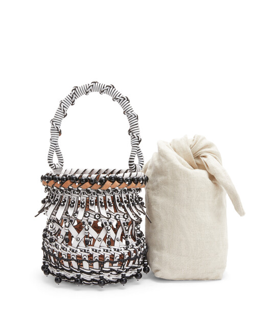 LOEWE Bucket Fringes Beads Small Bag White front