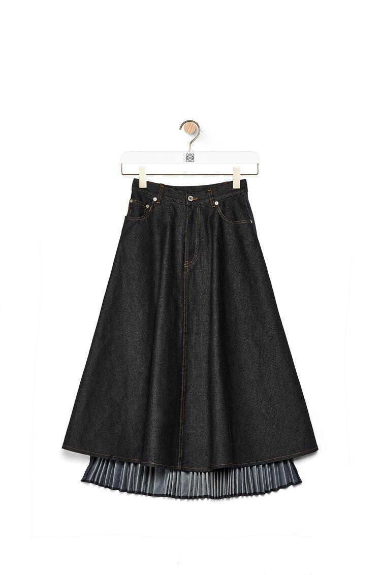 LOEWE Pleated skirt in denim Dark Denim Blue pdp_rd