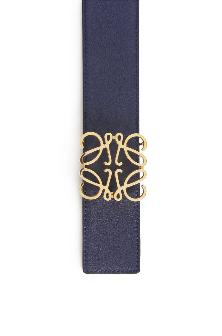 LOEWE Anagram belt in soft calfskin Black/Navy/Gold pdp_rd