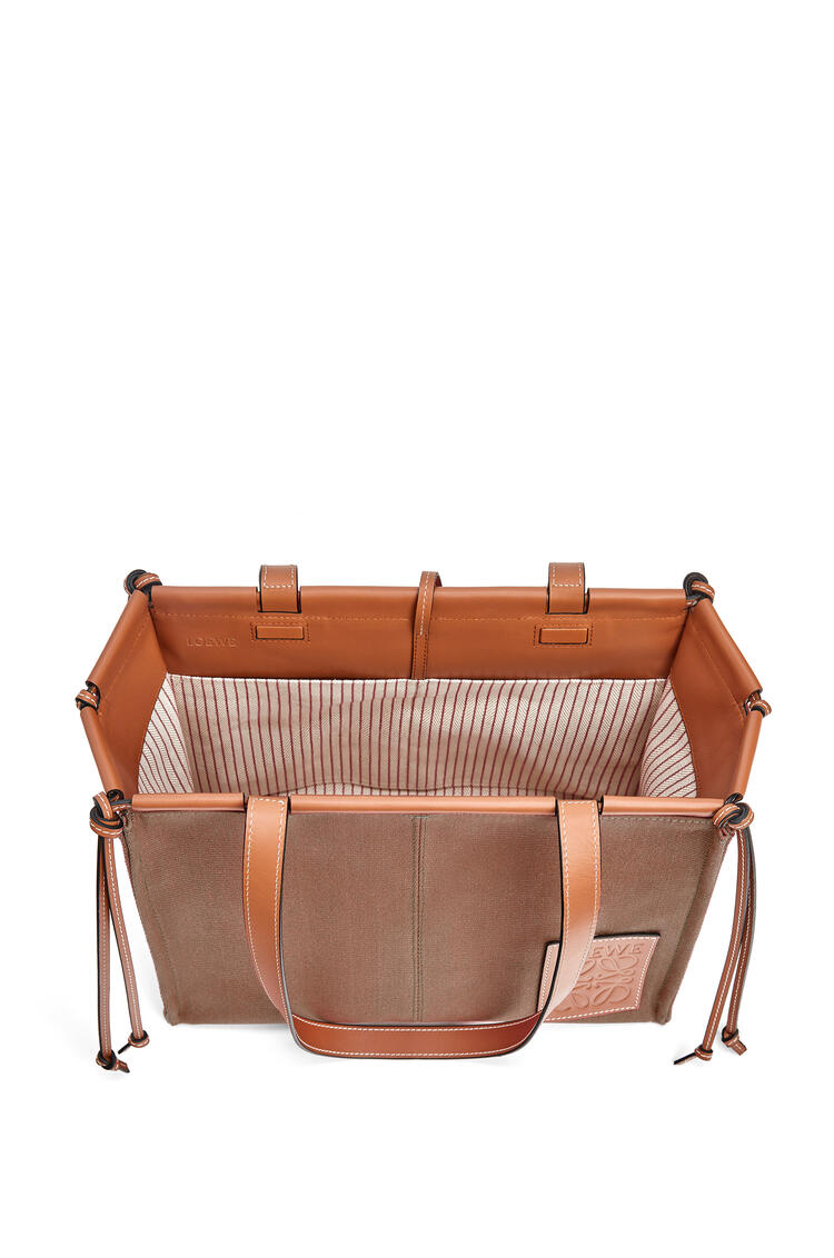 LOEWE Small Cushion Tote bag in canvas and calfskin Taupe pdp_rd