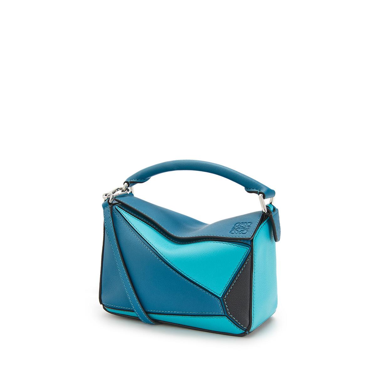 LOEWE Bolso Puzzle Mini Azul Laguna Oscuro/Negro front