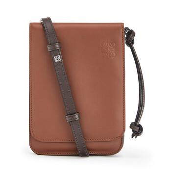 LOEWE Gusset Flat Crossbody Bag Cognac front