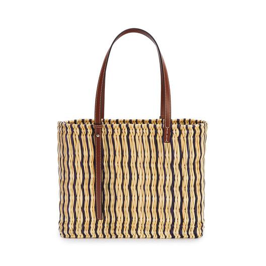 LOEWE 芦苇和小牛皮方形 Basket 手袋 Natural/Black/Pecan front
