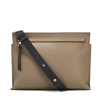 LOEWE T Messenger Bag Dark Taupe/Military Green/Bl front