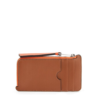 LOEWE Maze Coin/Card Holder Tan/Orange front