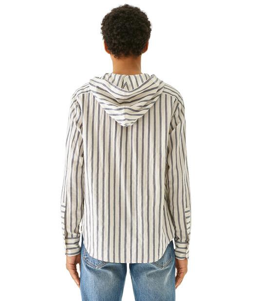 LOEWE Hooded Stripe Shirt Blanco/Azul front