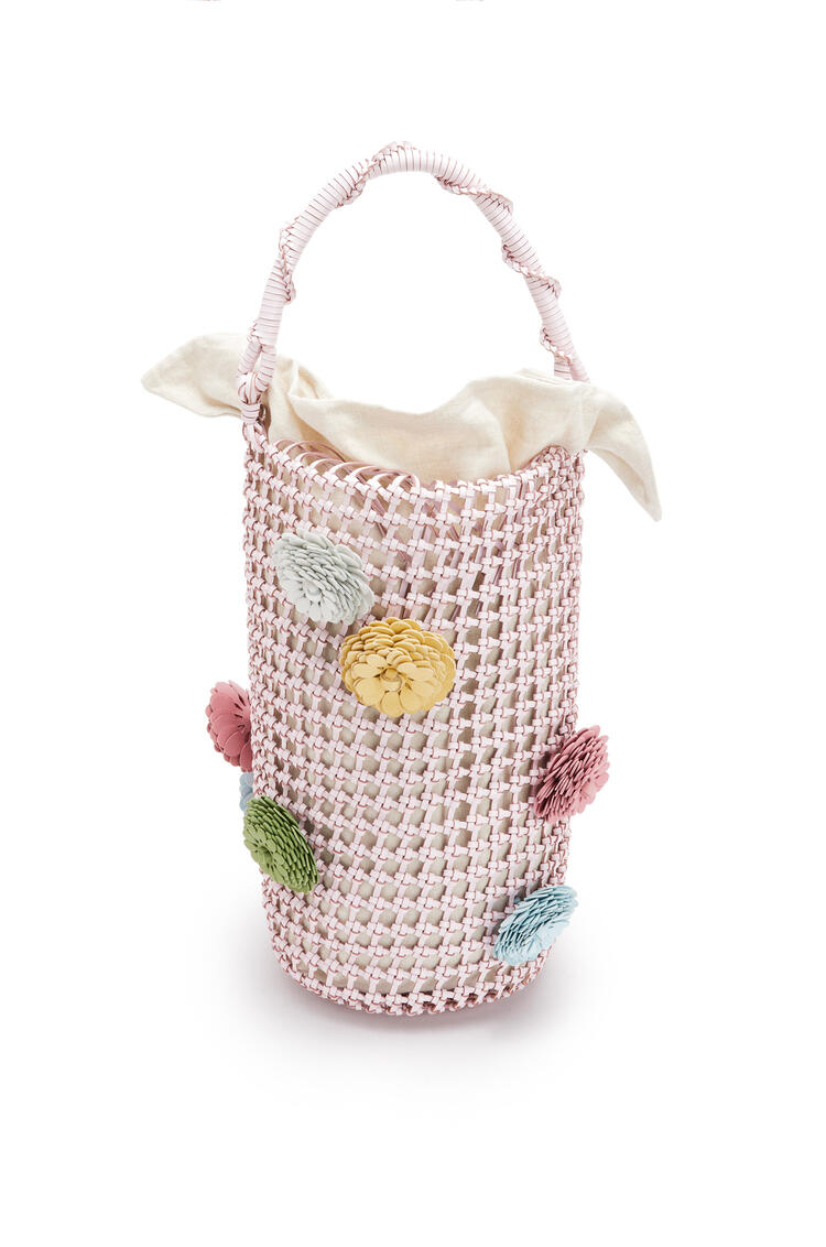 LOEWE Flower Bucket mesh bag in calfskin Icy Pink pdp_rd