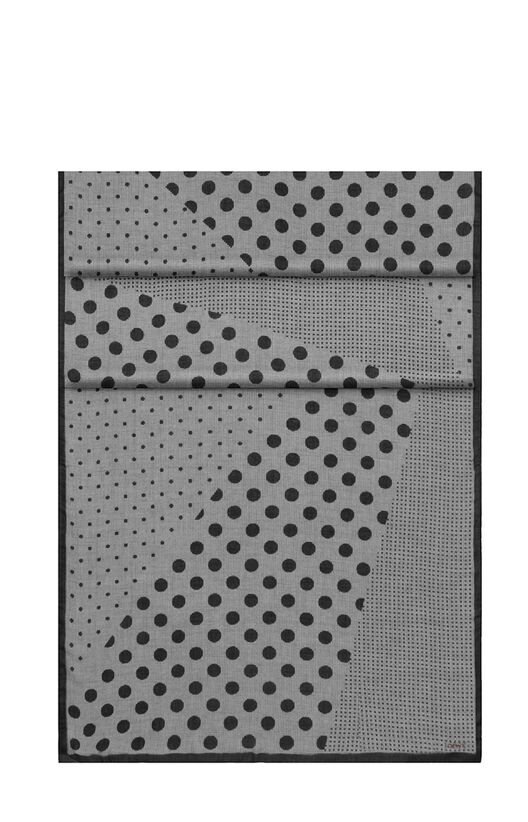 LOEWE 70X200スカーフドット&チェックパッチ White/Grey/Black all