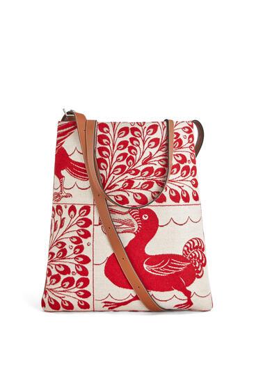 LOEWE Bolso vertical tote en textil y piel de ternera Rojo pdp_rd