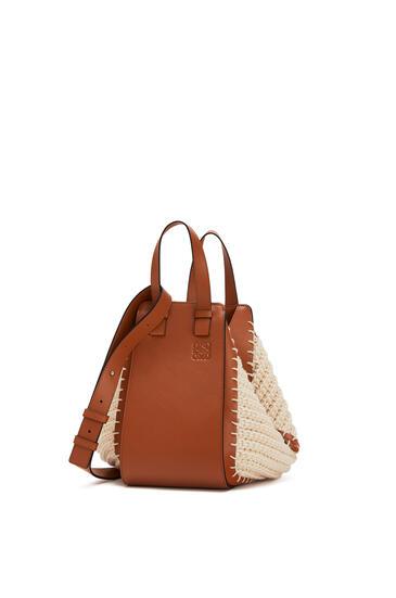 LOEWE Small Hammock bag in calfskin and cotton Tan/Natural pdp_rd