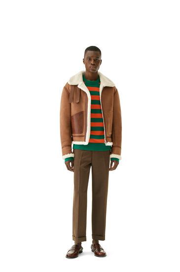 LOEWE Shearling aviator jacket in novack and nappa Dark Brown pdp_rd