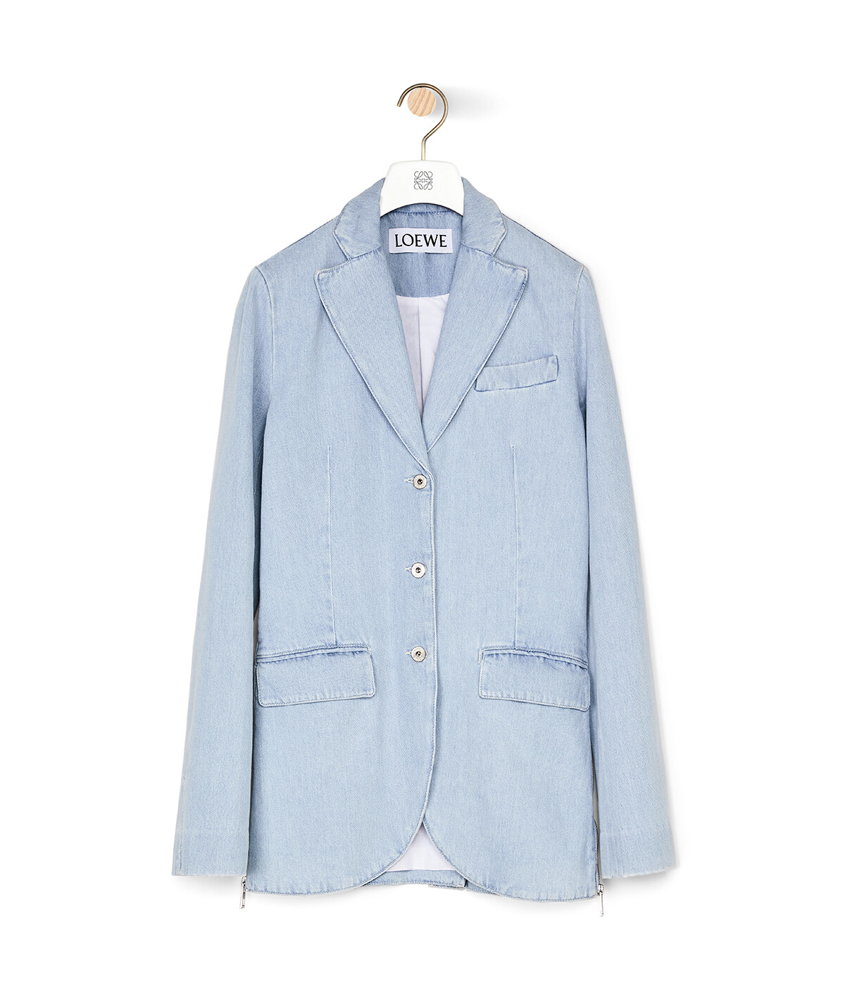 LOEWE 3Bt Notch Lapel Denim Jacket Azul Claro/Blanco front