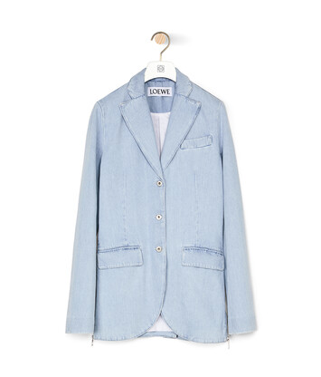 LOEWE 3Bt Notch Lapel Denim Jacket Azul Claro/Blanco front