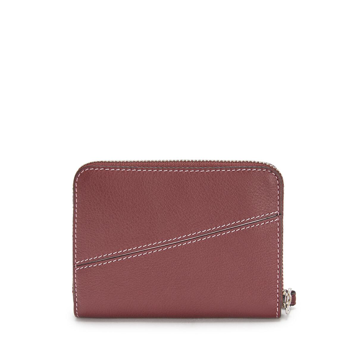 LOEWE Puzzle 6 Card Zip Wallet Wine/Pastel Pink front