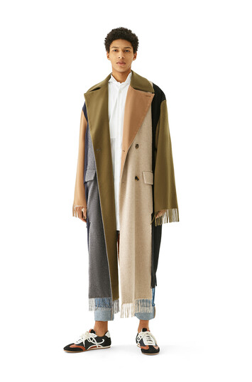 LOEWE Asymmetric Scarf Coat Multicolor front