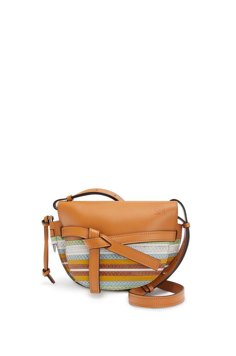 LOEWE Small Gate bag in calfskin and snakeskin Honey/Multicolor pdp_rd