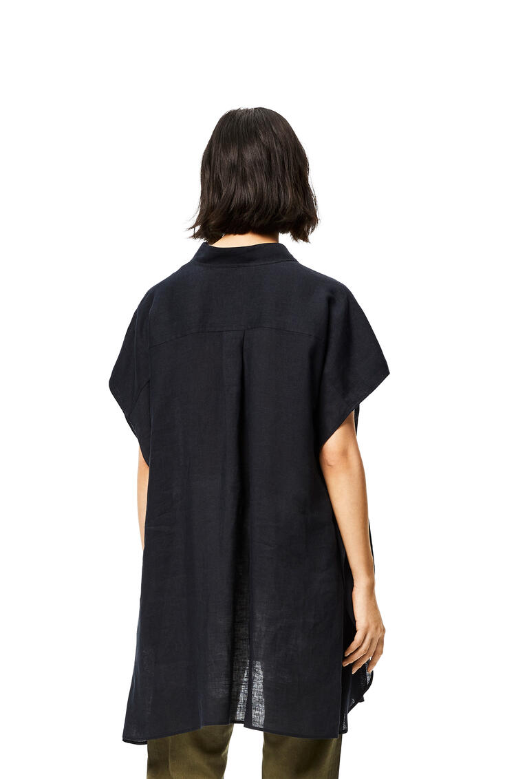 LOEWE Asymmetric oversize shirt in linen Black pdp_rd