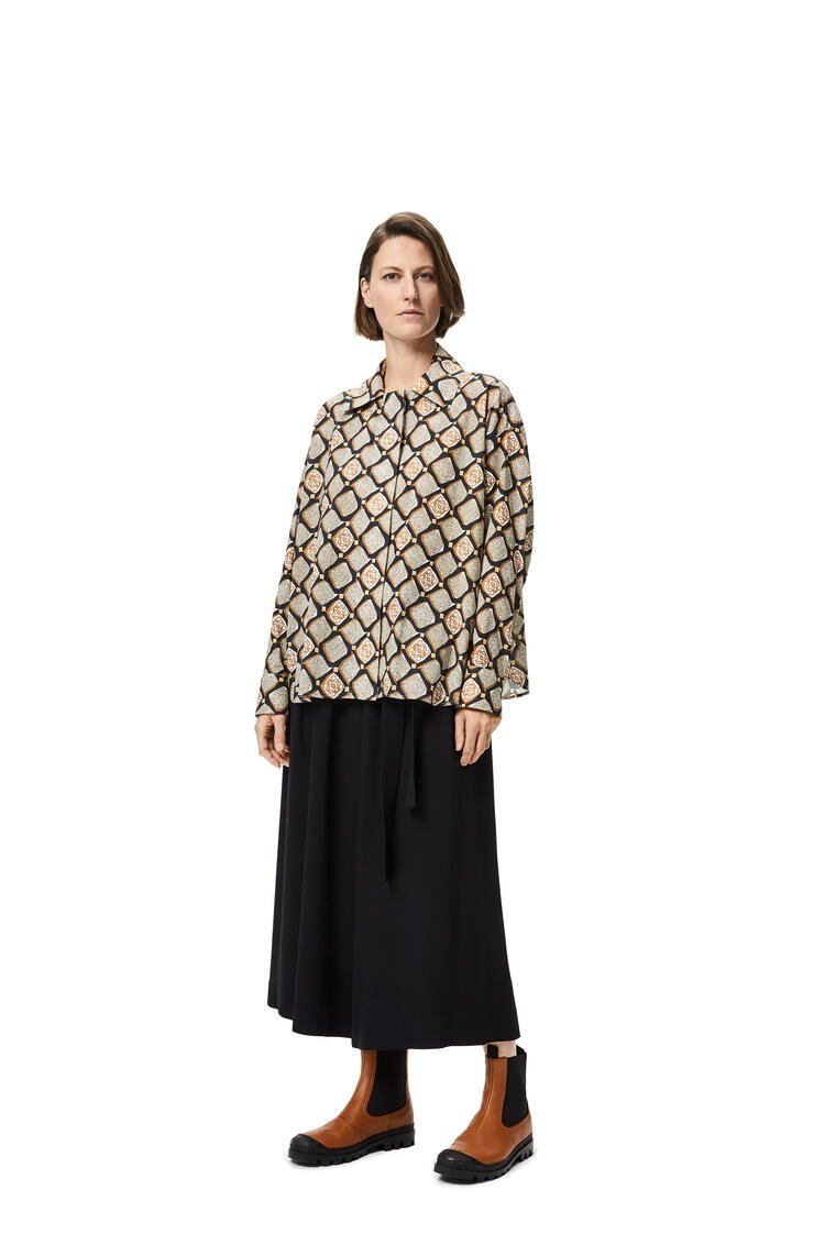 LOEWE Anagram pyjama blouse in printed cotton Black/Beige/Natural pdp_rd
