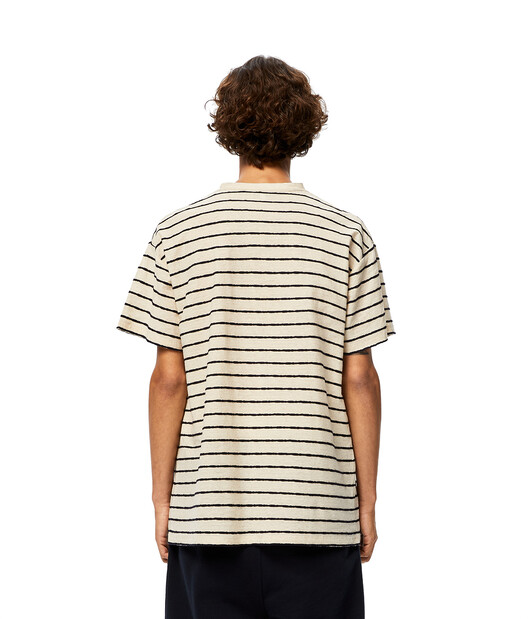LOEWE Stripe Anagram T-Shirt Ecru/Marino front