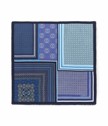 LOEWE 140X140 Scarf Print Patchwork Blue front