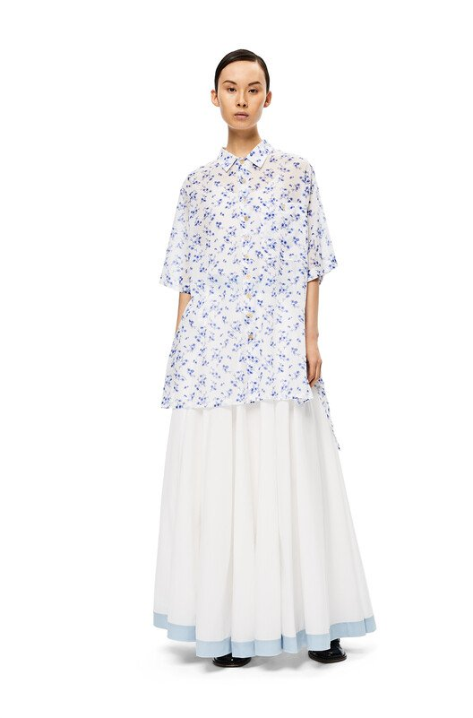 LOEWE Flower Oversize Short Sleeve White/Blue front