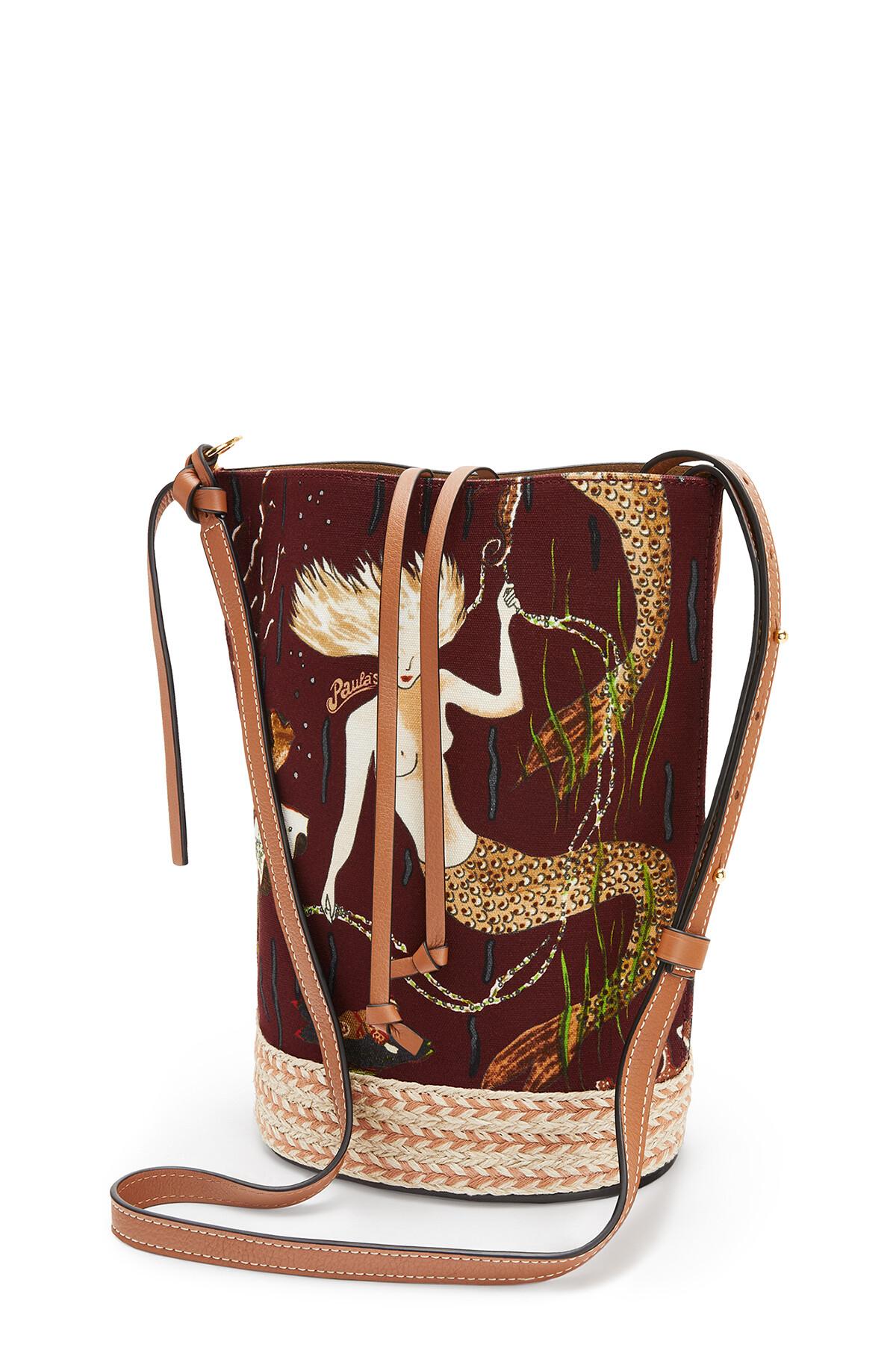 LOEWE Gate Bucket Bag In Mermaid Canvas And Calfskin Burgundy/Tan front