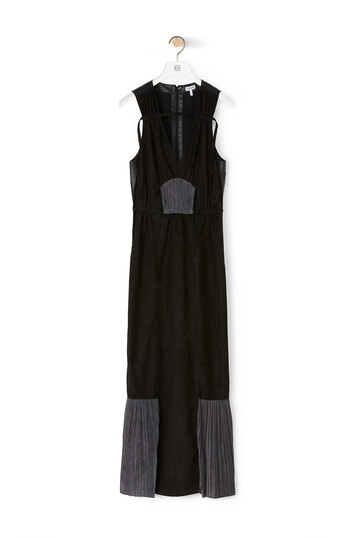 LOEWE V-Neck Sleeveless Dress 黑色/灰色 front