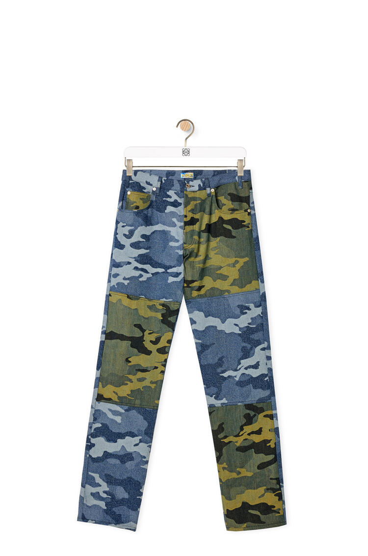 LOEWE Camouflage trousers in denim Khaki Green/Blue pdp_rd