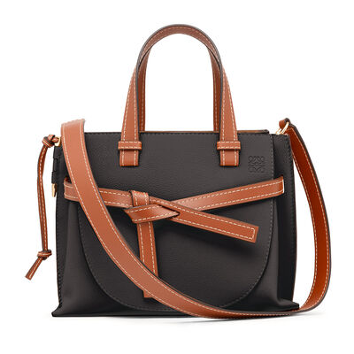 LOEWE Gate Top Handle Small Bag Black/Pecan Color front